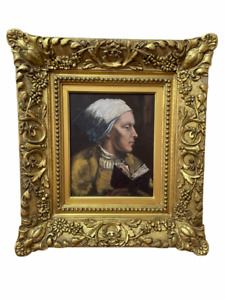 Stunning Oil painting in a antique gold wood frame, woman with book, painting