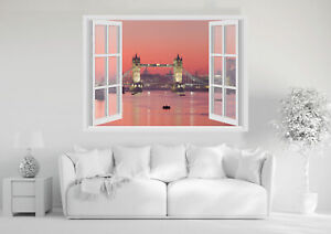 Adesivi Murali Finestra - LONDRA BRIDGE TRAMONTO - Wall Stickers 3D - VINILE