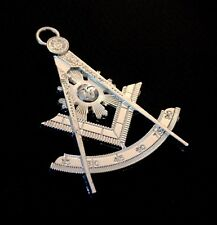 Past Master Silver Tone Jewel Masonic Collar Regalia SQUARE & COMPASS Pendent