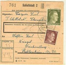 COLIS POSTAL SELESTAT ALSACE occupation allemande 1939/45