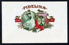 Old Original FIDELINA Cigar Label - Portrait, Tobacco Leaves, Lion, Crown, Key