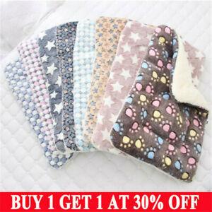 Pet Mat Paw Prints Cat Dog Puppy Fleece Soft Warm Blanket Bed Cushion Mattress1