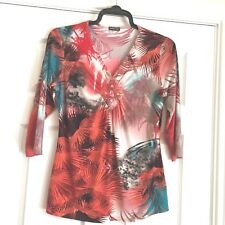 Jenny Loyd Made inUK Stretchy VNeck Top wild print bright colours beads sequins