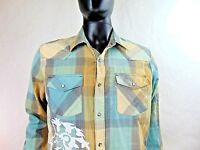 Levi's White Tab Modern Fit Western Shirt Long Sleeve Size Large Pearl Snaps