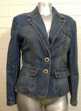 Woman HIGH SIERRA DENIM JACKET BLAZER Size L Back Slit 3 Button Cuffs  pockets