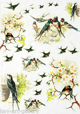 RICE DECOUPAGE PAPER / SWALLOWS 2/ CRAFT PAPER / DECOUPAGE SHEETS / SCRAPBOOKING