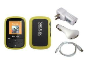 Yellow Skin Case + White Charger Cable for Sandisk Sansa Clip Sport Plus SDMX28