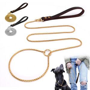Pet Dog Metal Chain Collar Stainless Steel Slip P Choke Leash set Leather Handle