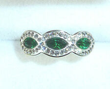 Green/White Crystal & Enamel Solid 925 Sterling Silver Ring US (7) AU (O)