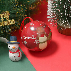 10PCS Christmas Round Ball Candy Box Holiday Gift Wrapping Iron Case Ornaments