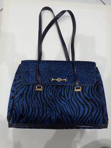 ESCADA Vintage Blue and Black tote bag purse faux animal print Large