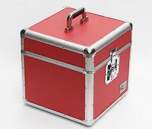 "12"" Red LP Vinyl Record Aluminium DJ Flight Carry Case Holds 100 Tough Strong"