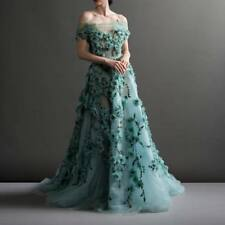 Luxury Green Evening Dresses Flower Applique Bead Prom Party Long Formal Gowns