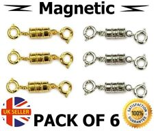 Pack Of 6 Strong Magnetic Jewellery Bolt Round Clasps Gold & Silver Tone Craft
