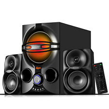 Stereo Bass System Home Audio Shelf Sound Speakers Radio Wireless Bluetooth 2.1