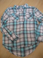 Girls 12 Aqua Blue Gray Plaid Flannel MUDD 1/2 Button SHIRT BLOUSE Top Hi Low