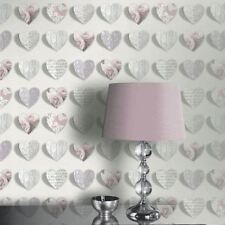 Olivia Pink Blush Floral 3d Hearts Love Feature Wallpaper Arthouse 669701