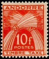 "ANDORRE FRANCAIS STAMP TIMBRE TAXE N° 38 "" GERBES 10F "" NEUF x TB"