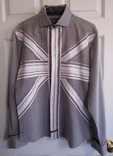 ENGLISH LAUNDRY Designer Button Up Dress Shirt With English Stripes Men's XL