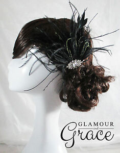 Harmony Vintage Gatsby wedding black feather fascinator hair headpiece RRP $80