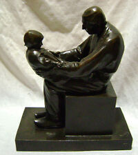 French bronze grouping by Lucien alliot old man grand child dark brown patina