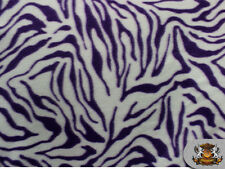 "Fleece Printed *ZEBRA PURPLE WHITE* Fabric 58"" sold by the yard NL-383"