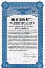 City of Sidney > Montana bond certificate blue > Mayor William Ball autograph