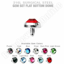 Dermal Anchor Top lot of 11 pc. 3mm mix colors Flat CZ 16g Surgical Steel