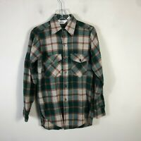 Vintage Woolrich Wool Flannel Men's S Gray Red Buffalo Plaid Long Sleeve Shirt