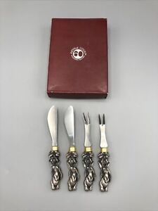 Arthur Court Bunny/Orchid Hors d' Oeuvres Set of 4 (2 Forks and 2 Knives)
