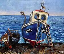 Dipinto ORIGINALE impressionista: Melanie REYNOSO PARKER: aragosta Barca Bassa Marea