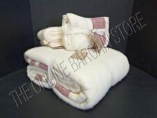 Pottery Barn West Elm Cozy Border Stripe Bed Blanket King Euro Shams Chili Ivory
