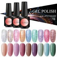 MEET ACROSS 7ML Glitter UV Gel Nail Polish Soak Off Shiny Nail Gel Varnish Tips