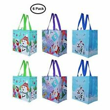 Earthwise Reusable Grocery Gift Bags with Xmas Holiday Designs (Pack of 6)