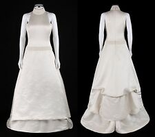 CAROLINA HERRERA Ivory Silk Satin Sleeveless Bead Embellished Wedding Dress Sz 8