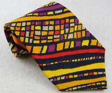 vtg Missoni Cravatte multi-color BOLD mosaic art 100% silk tie hand made Neiman