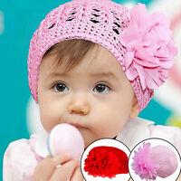 LC_ bébé en âge BAS Bonnet Beanie FLEUR MAIN CROCHET TRICOT ENFANTS FILLES HI