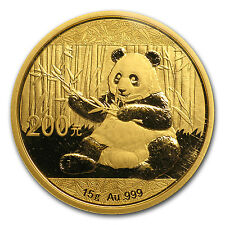 2017 15 gram Gold Chinese Panda Coin Sealed in Mint Pouch Brilliant Uncirculated