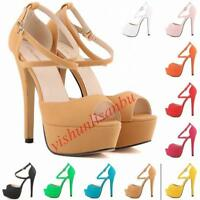 Women's Peep toe Stiletto Heel Strap Buckle Platform Wedding Shoes Pumps Sandals
