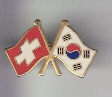 RARE PINS PIN'S .. TOURISME PAYS COUNTRY DRAPEAU FLAG SUISSE COREE DU SUD ~DH