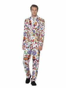 60's Groovy Anzug mit Krawatte Herren Kostüm Sakko Jackett Hose Karneval Party