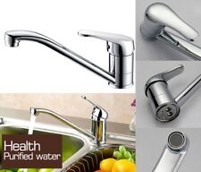 Single Lever Kitchen Sink Mixer Tap Taps with Swivel Spout Solid Brass Chrome UK