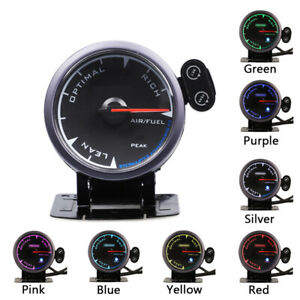 "2.5""Universal Air Fuel Ratio Gauge w/ Bracket LED Pointer O2 A/FR Meter Monitor"
