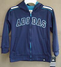 NWT $48 ADIDAS Boys 5 ZIPPER HOODIE Navy Teal Jacket
