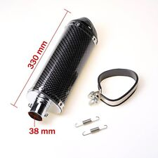 38mm Carbon Fiber Racing Exhaust Pipe Muffler Motorcycle 125cc-150cc Dirt Bike