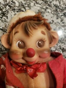 Vintage Rubber Face Rushton Hobo Monkey With Hearts RARE