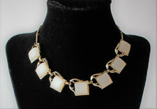 Gorgeous white moonglow thermoset gold toned nekclace #751