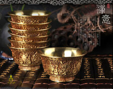 Tibet Buddhist Mikky Copper Offering Water Bowl Cup Divine Focus Ritual 7XPCS