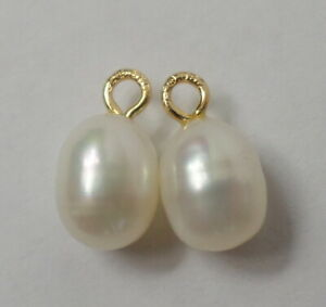 14K Yellow Gold Pair Matched Baroque Pearls Interchangeable Earring Charms NEW7