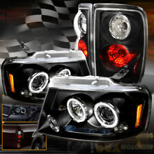 For 2004-2008 Ford F150 LED Halo Projector Headlights W/ Black Euro Tail Lights